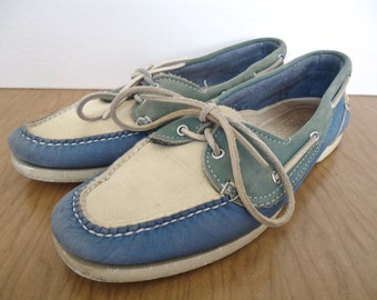 Cole-Haan Suede Spectator Boat Shoes / vintage preppy pastel blue, green & white loafers, moccasins / US mens 8.5