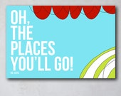 Oh the Places You'll Go 7 | Seuss Inspired Wall Art | Canvas Art Decor | Typography Quote Print | As seen Project Nursery | Boy Room Decor