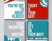 You're off to Great Places 4 | Wall Art Collection | Canvas Art Decor | Typography Quote Print | Playroom Prints