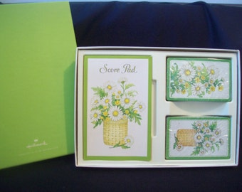 Vintage Playing Cards Bridge Set Daisies Daisies by Hallmark circa 1960s Cards and Scorepad