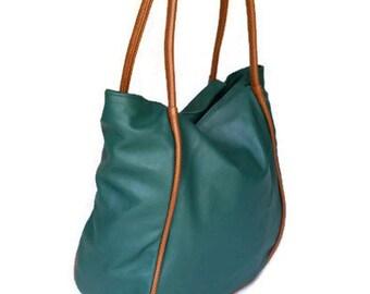 Tote leather purse multicolored fashion everyday casual bag green  brown medium shoulder handbag handmade handbags and purses JANETH