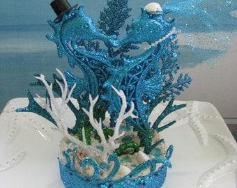 Blue Seahorse Beach Wedding Cake Topper~Starfish Wedding Cake Topper~Seashells~Beach Glass~Waves