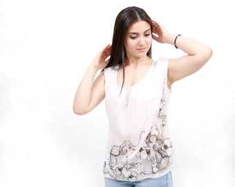 Elephant silk blouse. Hand painted silk blouse. Ready to ship