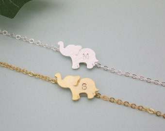 PERSONALIZED ELEPHANT ANKLET, initial elephant anklet, 925 silver anklet, birthday gift , bridesmaid gift idea, Elephant Jewelry, friendship