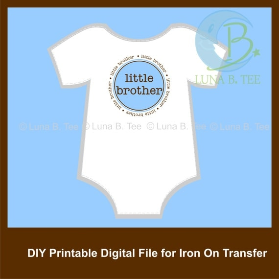 INSTANT DOWNLOAD Little Brother Blue Brown Printable DIY Iron On to Tee T-Shirt Onesie Transfer - Digital File