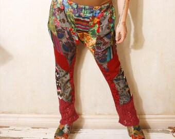 Woman pants Harem pants Eco friendly Sarouel Floral pants Hippie pants Boho pants Gypsy pants Festival pants Drop crotch pants Red pants