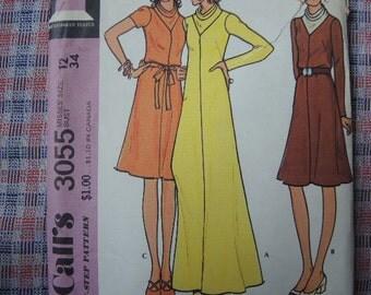 vintage 1970s McCalls sewing pattern 3055 misses dress cowl neck size 12 bust 34