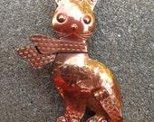 RARE 1950s Gret Barkin copper kitty cat brooch