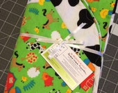 Farm frenzy double layer flannel reversible baby blanket.  Ready to ship.