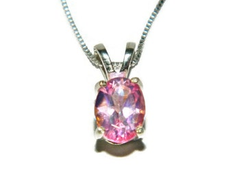Pink Topaz Necklace, Sterling Silver Chain, Necklace With Pendant