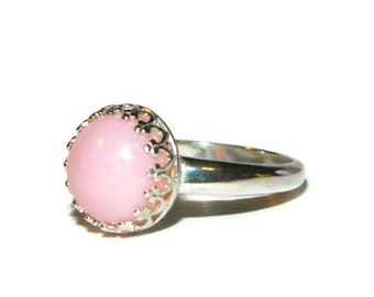 Pink Opal Ring, Sterling Silver Crown Ring, Low Profile Ring, Ring With Pink Stone, Jewelry On Sale