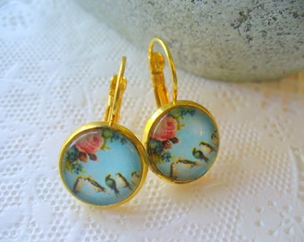 Birds and Flowers French Earrings, Dangle Earrings, Birthday Gift, French Earrings, Womens Jewelry, Gold Earrings, Valentine's Day Gift