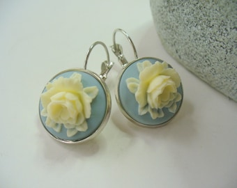 Ivory Rose, Powder Blue Cameo, Floral Earrings, Flower Earring, Floral Jewelry, Leverback French Earwires, Vintage Style, Rose Flower
