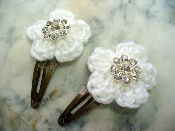 Crochet Hair Flowers : Crochet Flower Hair Clips, Antique Brass Clip, Rhinestone Floral, Hair ...