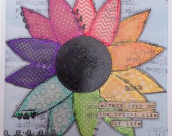Rainbow flower Greetings card
