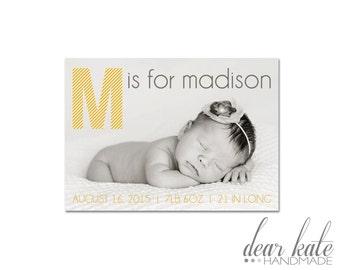 CUSTOM Monogram Birth Announcement- Simple Modern Customizable