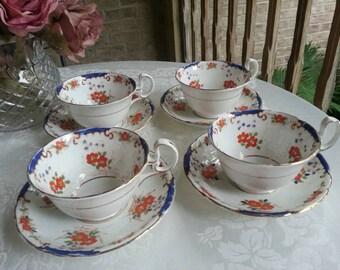 Rare Antique Set of 4 Tea Cups and Saucers Melba Bone China England Hand Painted reg.no 1920's