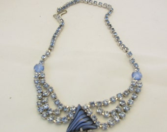 Blue Rhinestone Necklace with Matte Glass Cabochons and Glass Triangle Cabochon, Unsigned