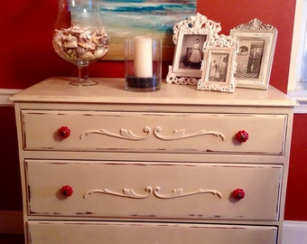 SOLD Vintage Maple Solid  Wood Dresser Hand Painted Annie Sloan Old Ochre