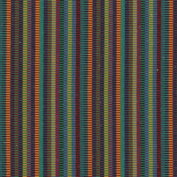 Teal Orange Stripe Upholstery Fabric Blue Green Mini Stripe