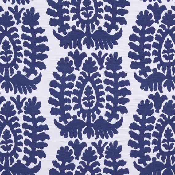 Cobalt Blue Ikat Upholstery Fabric Modern Blue White Home