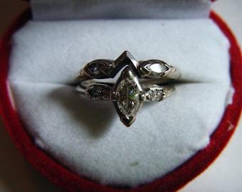 Stunning 14K White Gold Genuine Marquise Diamond Engagement Ring And Matching Wedding Band Size 5 1/2