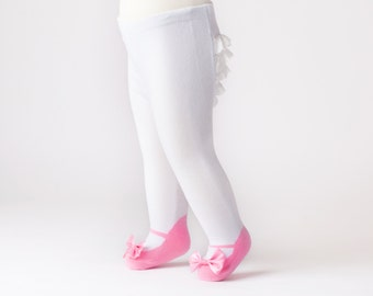 Ruffle Bum Baby tights with Mary Jane Bow Shoes leggings- Light Pink
