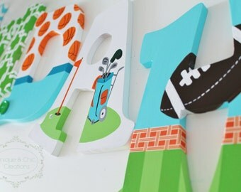 Orange, Lime, Aqua sports Themed Hand Painted Personalized Wooden Letters for Nursery, Bedroom, or Party
