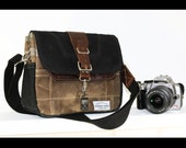 PETITE Waxed Canvas cross body Messenger bag - handmade - field tan + black + leather accents PB0002