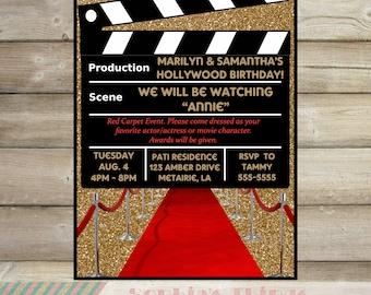 hollywood invitation  etsy, party invitations