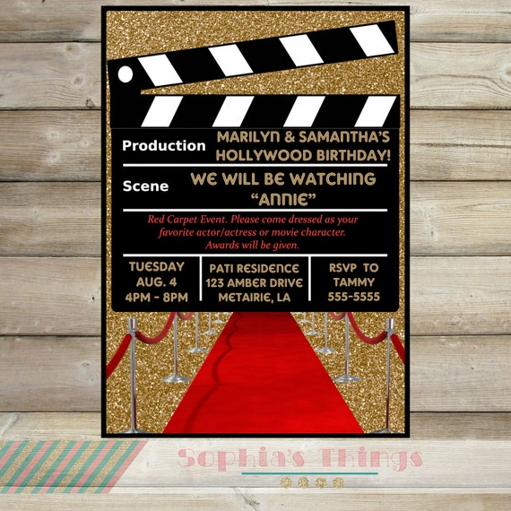 Movie Party Invitation Hollywood Birthday
