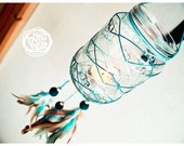 ORDER ITEM - Glass Dream Catcher - Blue Sunset - Dream Catcher with Glass, Colorful Feathers, Blue Web - Home Decor, Candelabrum