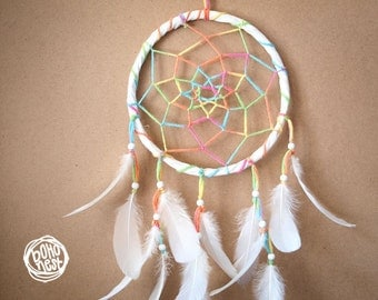 Rainbow Dreams - Dream Catcher with Crystal Prism, Colorful Web and White Feathers - Boho Home Decoration,Childrens Baby Nursery Crib Mobile
