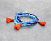 Tassel Bracelets by the batch / Sparkling bead bracelet with tassel / charm bracelet for women / Stacking bracelet