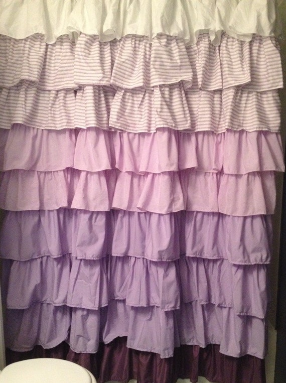 Items similar to shabby chic purple ombr ruffled shower for Purple ombre shower curtain