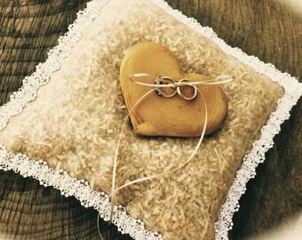Rustic Ring Bearer - Wedding Ring Bearer Pillow - Unique Ring Bearer Pillow - Heart Ring Bearer Pillow