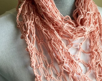 Pink Summer Scarf / Shawl - Sweet Pretty Soft Pink Cotton Crocheted Summer Scarf or shawl