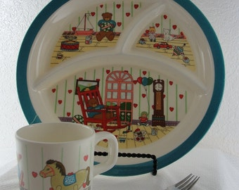 Children Plate Set Divider Plate Cup and Fork with Teddy Bear