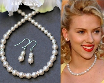 Bridal Jewelry Set Swarovski Pearl Classic Necklace Earrings Set Bridal Party Gift Jewelry Gift Set Mother of Bride Maid of Honor HELEN-JS