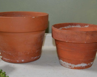 Two Large Clay Pots French script