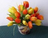 Small spring floral arrangement Mother's Day gift orange yellow silk tulips ceramic vase bird flower arrangement teacher gift
