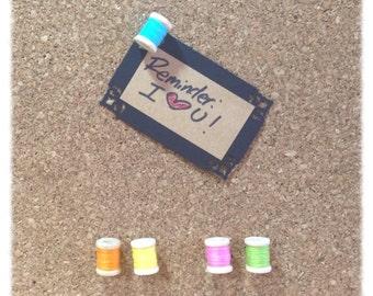 Thread Spool Message Board Pins / Thumbtacks Set of 5 Rainbow Colors - TT16