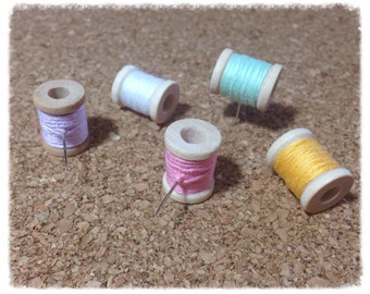 Thread Spool Message Board Pins / Thumbtacks Set of 5 - TT17