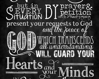 Scripture Art - Philippians 4:6-7 Chalkboard Style