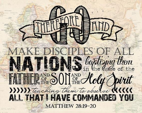 Scripture Art - Matthew 28:19-20 ~ World Map Graphic