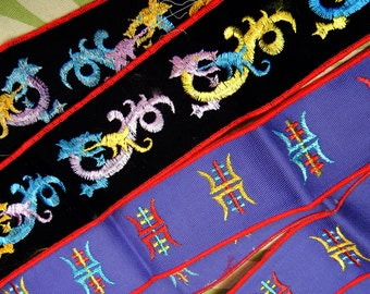 Vintage trims/ribbons - Dragons - Asian-inspired - cotton woven