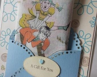 Vintage 1950s Children's Handkerchief Old Woman In A Shoe Mom Baby Shower Retro Nursery Rhyme Baby Decor Keepsake Gift Card