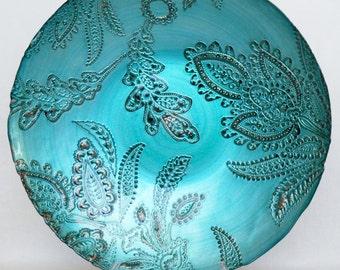 Large Vintage Deep Aqua Paisley Art Glass Bowl, Large Paisley Art Glass Bowl, Vintage Paisley Bowl, Mid 20th Century, Decor,