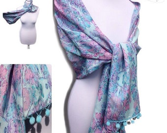 SALE - Large Silk Scarf/Wrap, gifts for her, pink and blue silk scarf, luxury gift, SALE, REDUCED, birthday present,Mother's Day,large scarf