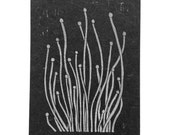 linocut - SPROUTS, white ink - 5x7 / printmaking / block print / black & white / contemporary / nature art / seed pods